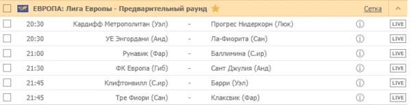 ЕВРОПА: Лига Европы - Предварительный раунд