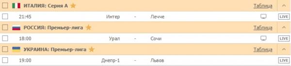 ИТАЛИЯ: Серия А / РОССИЯ: Премьер-лига / УКРАИНА: Премьер-лига