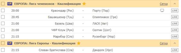 ЕВРОПА: Лига чемпионов / Лига Европы - Квалификация
