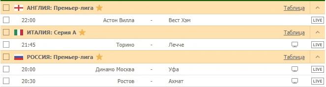 АНГЛИЯ: Премьер-лига / ИТАЛИЯ: Серия А / РОССИЯ: Премьер-лига