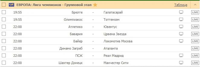 ЕВРОПА: Лига чемпионов - Групповой этап